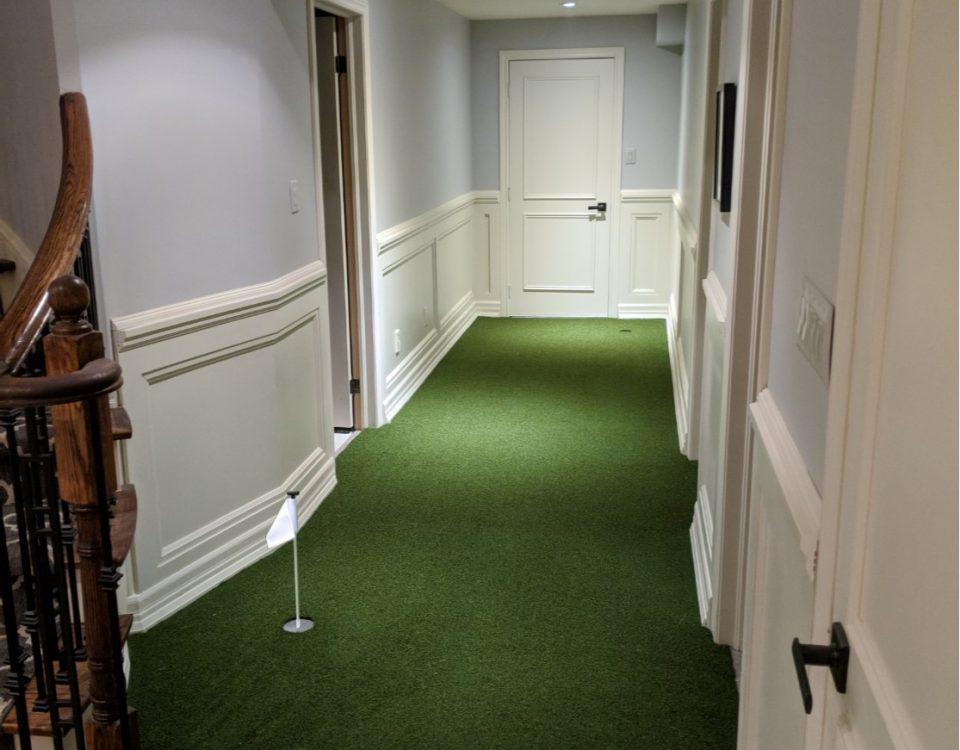 Indoor basement golf green