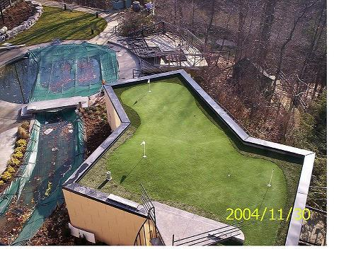 Roof-top golf green with undulations