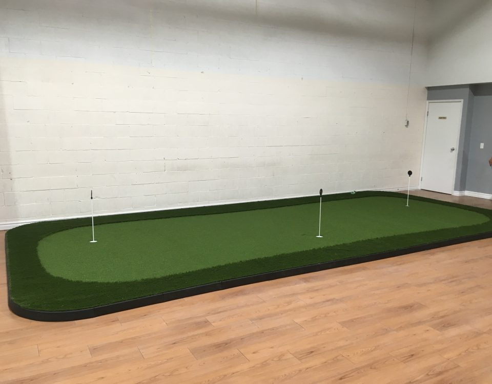 Three-hole indoor putting green with Ultra-base panels