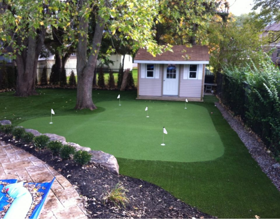 Pickering homeowner loves his no maintenance backyard with golf green