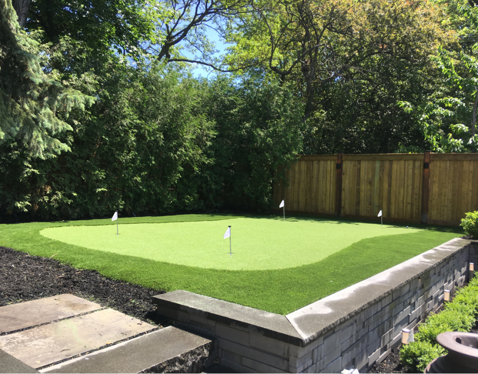 Ideal golf green placement with perfect compliment of fringe turf