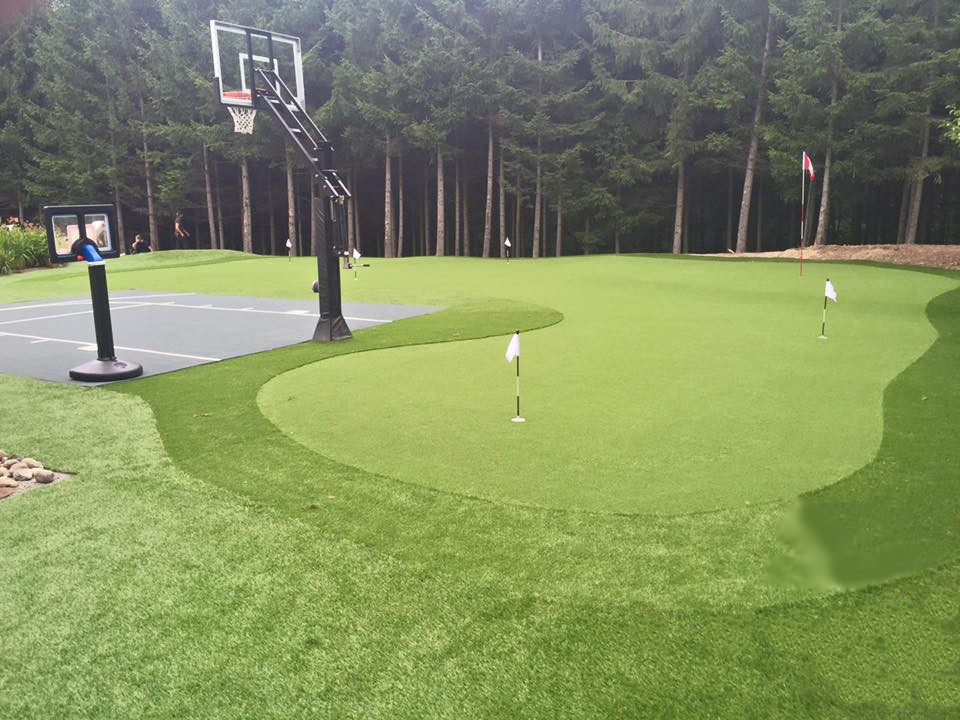 X large golf green with basketball court