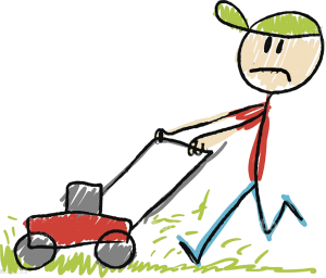 unhappy mowing grass